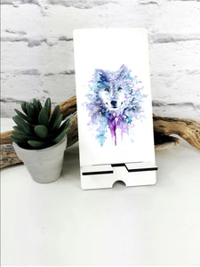 Geometric Wolf Art Phone Stand