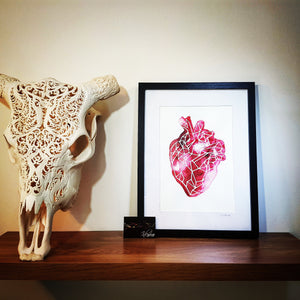 Geometric Anatomical Heart Watercolour Wall Art Print