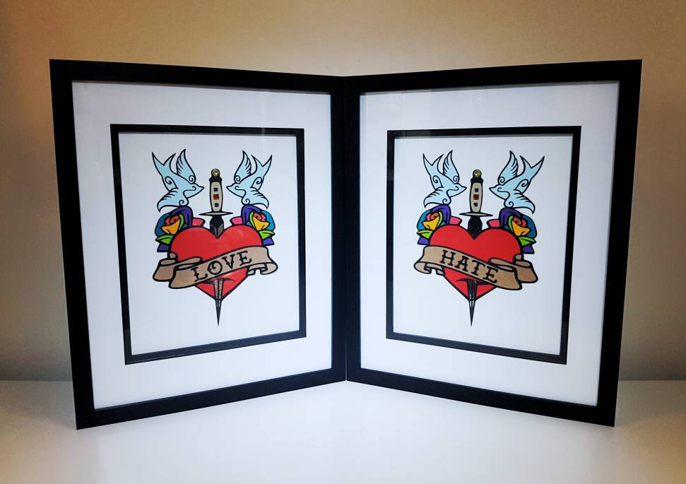 Original tattoo art papercut, love hate design, rainbow roses, swallows, heart & dagger mixed media home decor, wall art, alternative gift