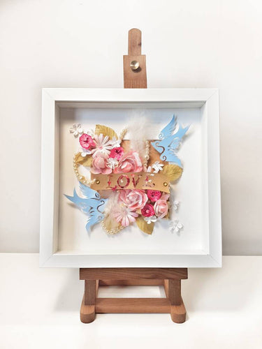 Mixed media floral home decor wall art, papercut, roses and pearl , mothers day gift for her love or pearl anniversary, tattoo alternative