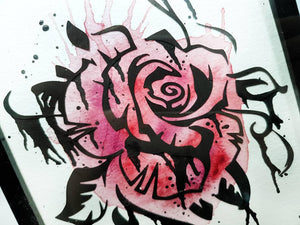 Rose art home decor original watercolour painting, mixed media with paper cut flower, gothic gift, tattoo art, paper anniversary alternative