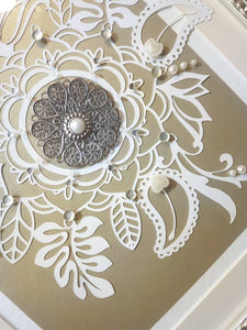 Mandala paper cut wall art home decor with embellishments decal, lotus boho picture,  mothets day gift for her,gold patterned paper design