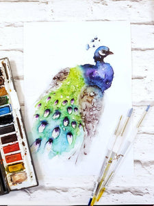 Peacock Watercolour Wall Art Print