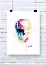Watercolour Skull Wall Art with One Eye