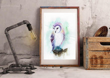 Owl Watercolour Wall Art