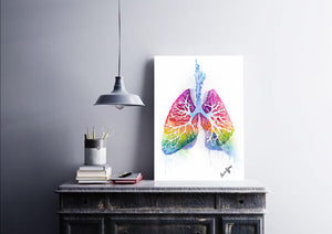 Watercolour lungs art print