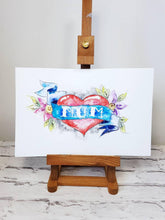 Mothers day gift original watercolour painting, tattoo inspired wall art, home decor, heart and flower design, mum mam mom gift, modern art