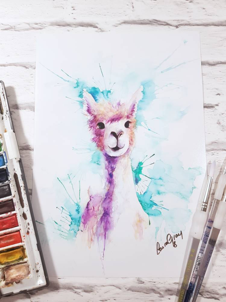 Llama watercolour art print