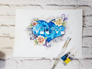 Mother's day art gift, original watercolour art floral inspired, home decor, heart and flower design, mum mam present for her new mum tattoo