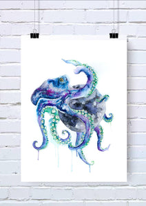 Octopus Watercolour Wall Art
