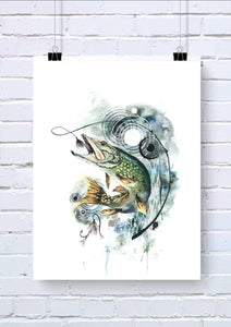 Pike Fish Watercolour Wall Art Print