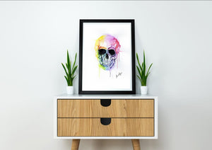Skull Watercolour Art Print with two Eyes