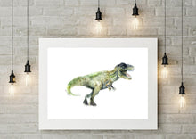 T-Rex Dinosaur Watercolour Wall Art Print
