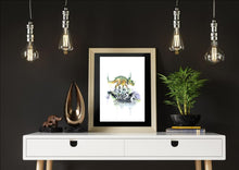 Dinosaur skeleton art print set of 3, T-Rex, Triceratops and Pterodactyl