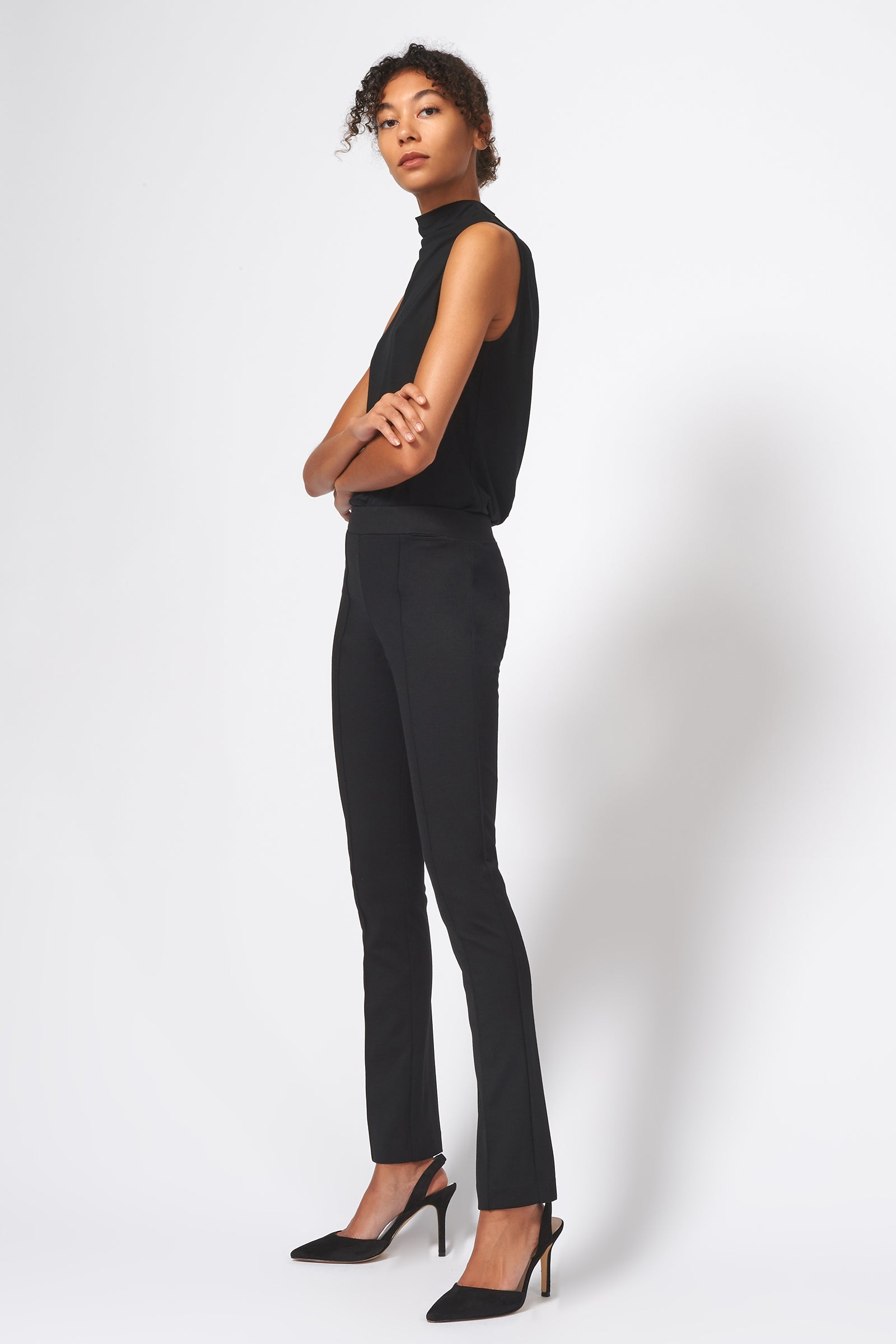 Kal Rieman Pintuck Ponte Straight Leg Pant in Black on Model Full Side View