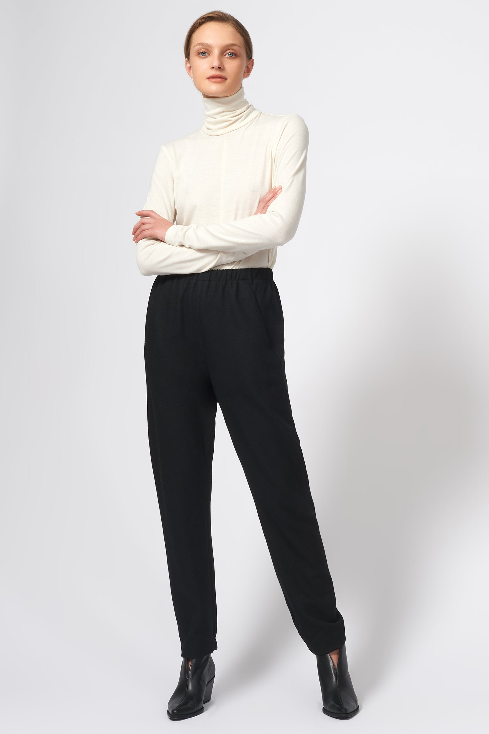 Kal Rieman Felted Jersey Angle Seam Jogger in Black on Model Full Front View