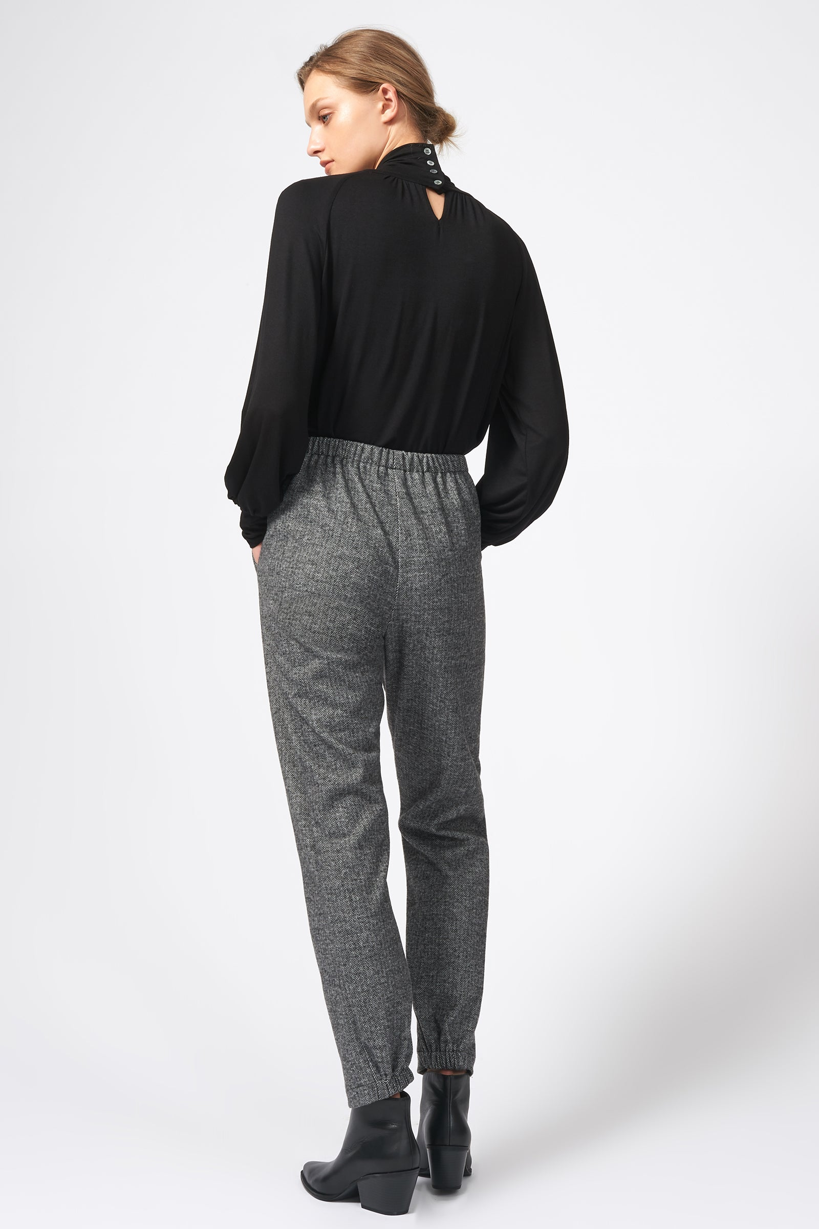 Kal Rieman Angle Seam Jogger in Black Chevron on Model Full Front View