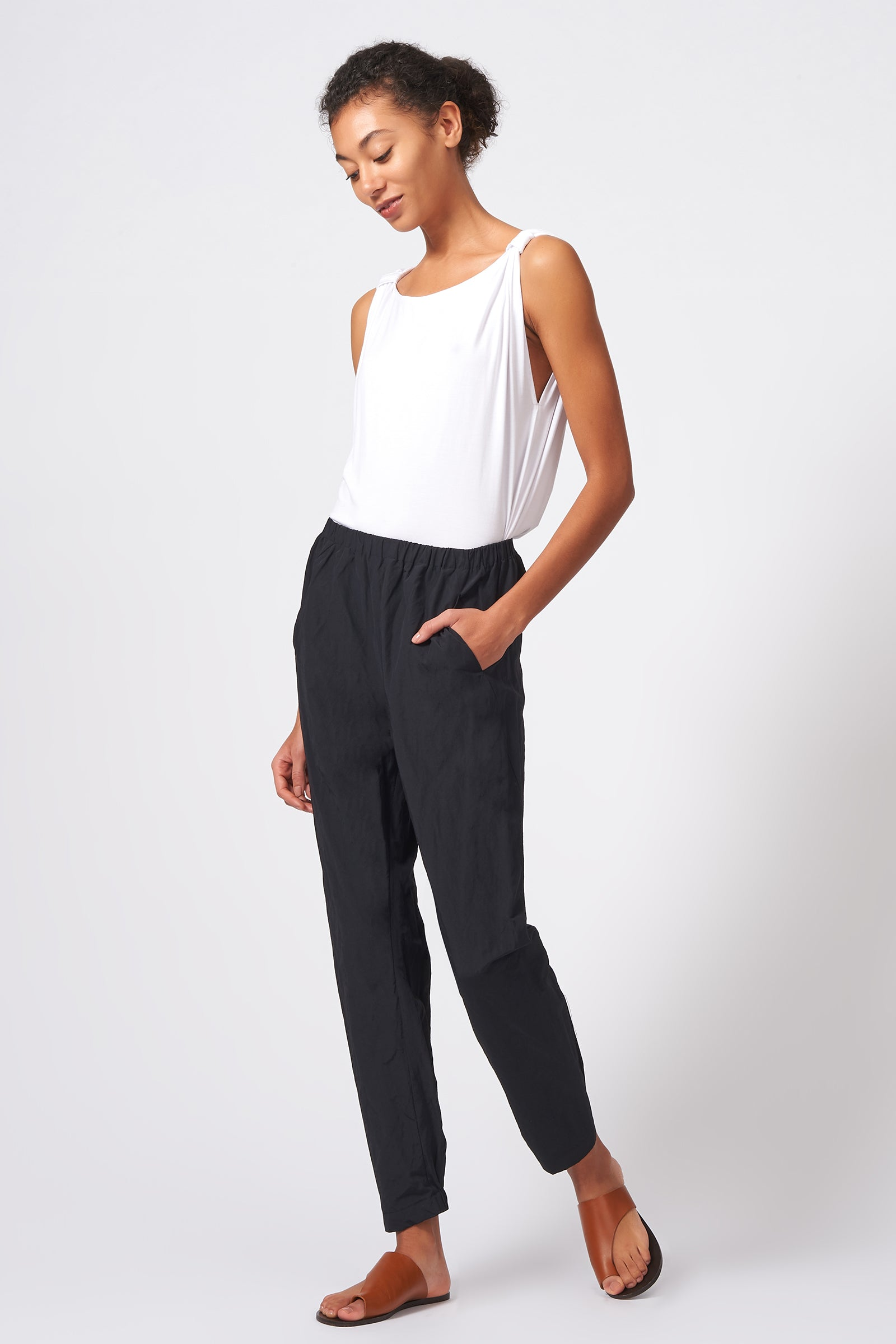 Kal Rieman Angle Seam Jogger in Black Cotton Nylon on Model Front Side Full View