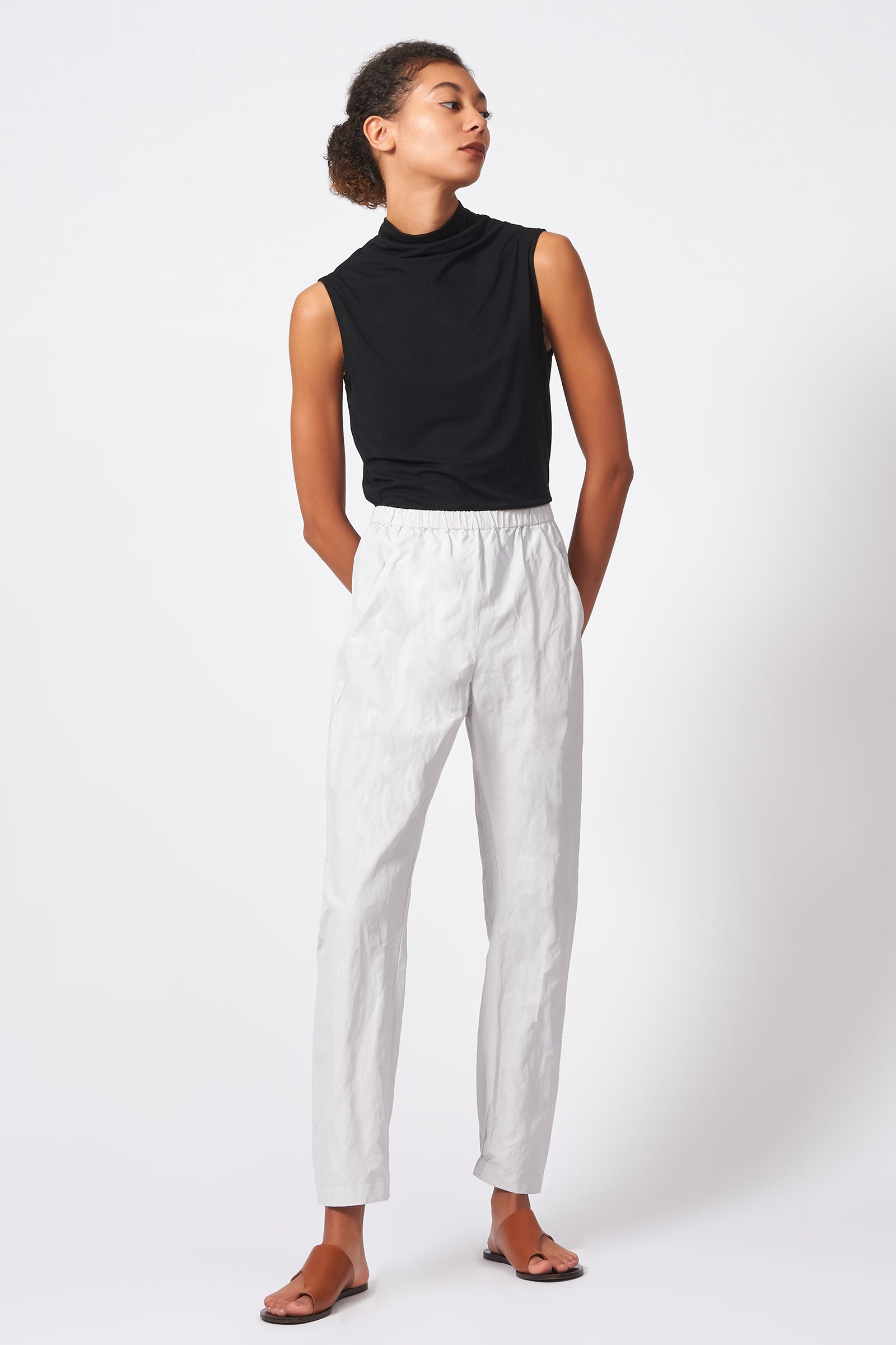 Kal Rieman Angle Seam Jogger in Stone Cotton Nylon on Model Front Full View