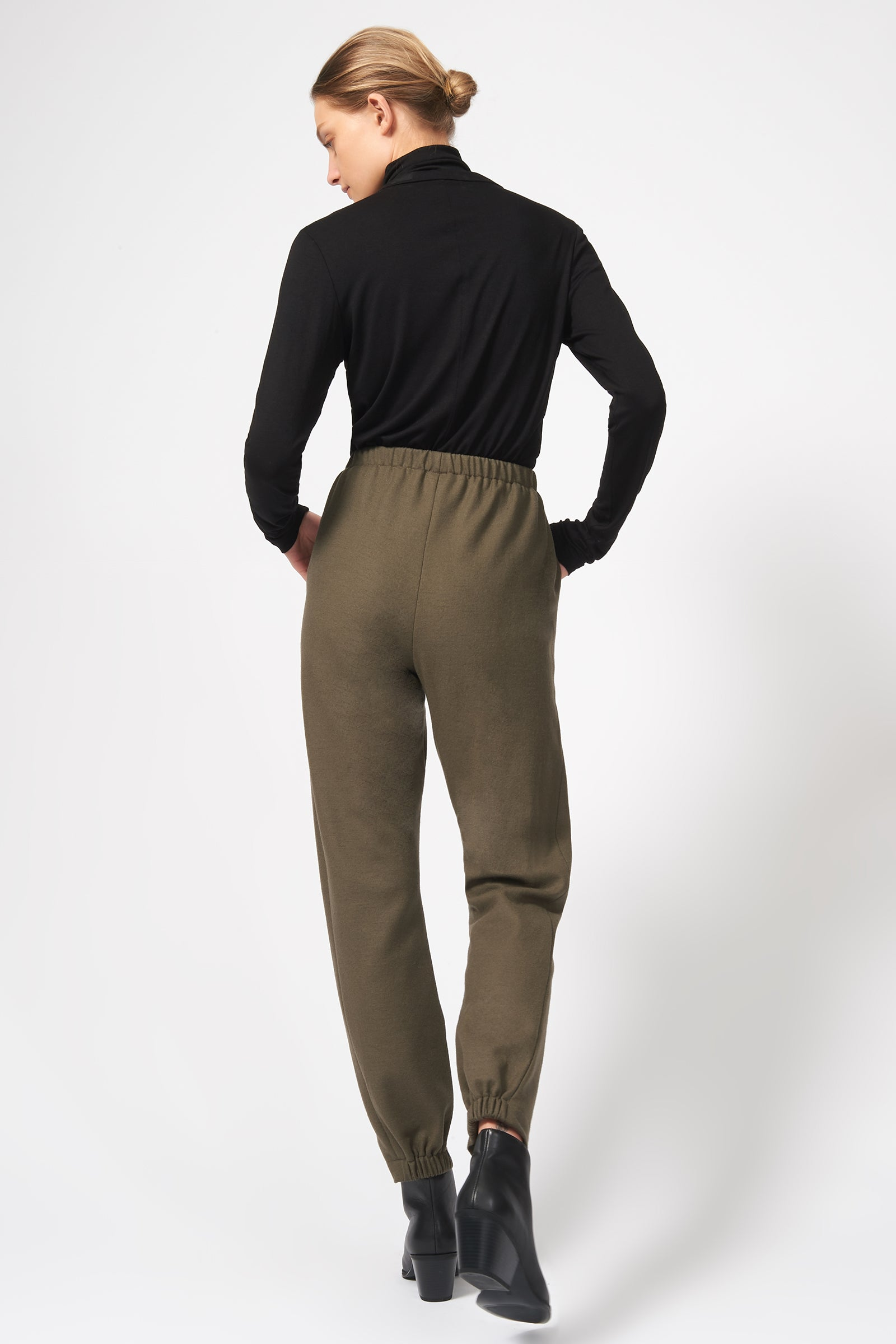 Kal Rieman Felted Jersey Angle Seam Jogger in Moss on Model Full Back View