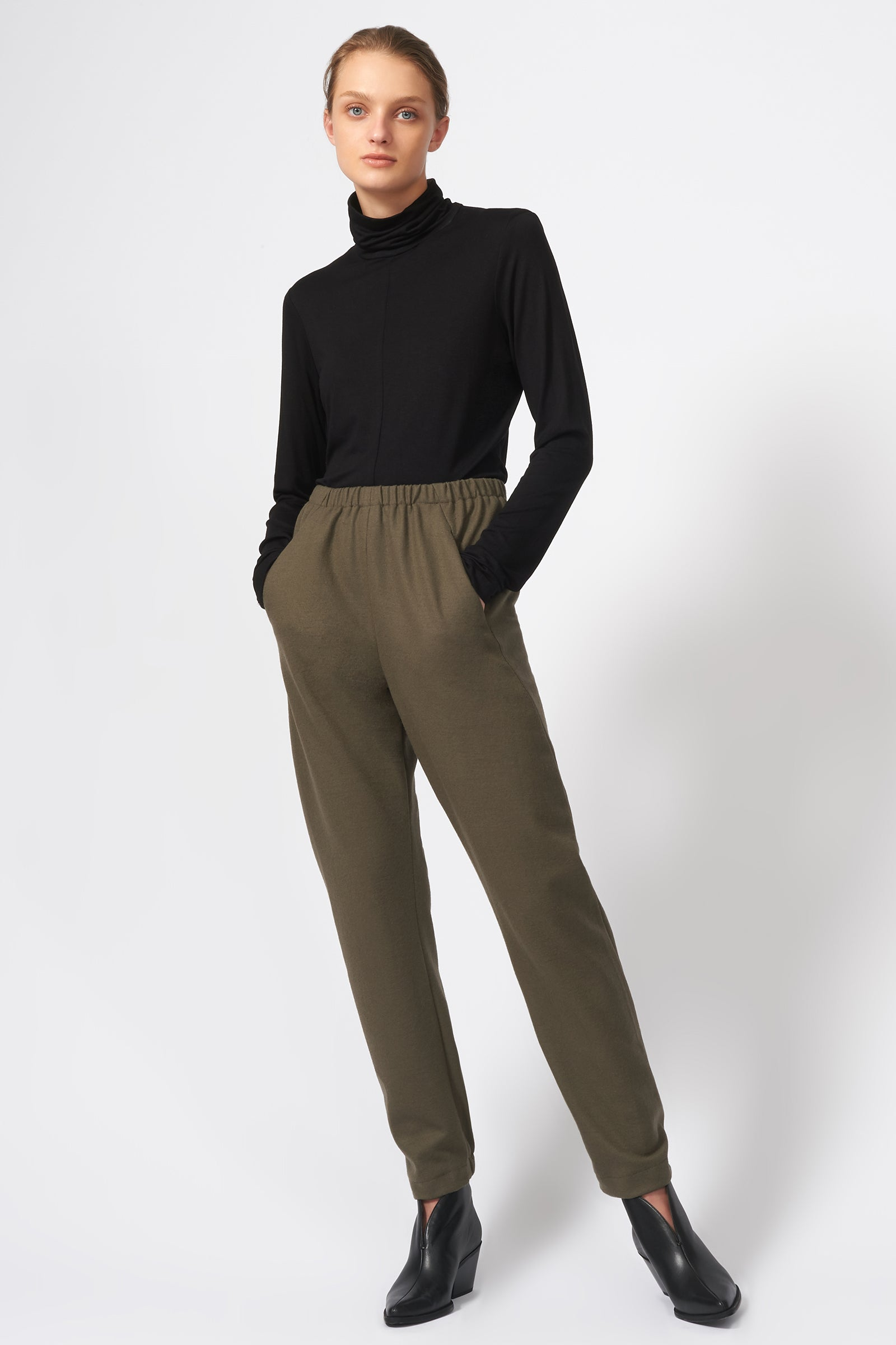 Kal Rieman Felted Jersey Angle Seam Jogger in Moss on Model Full Front View