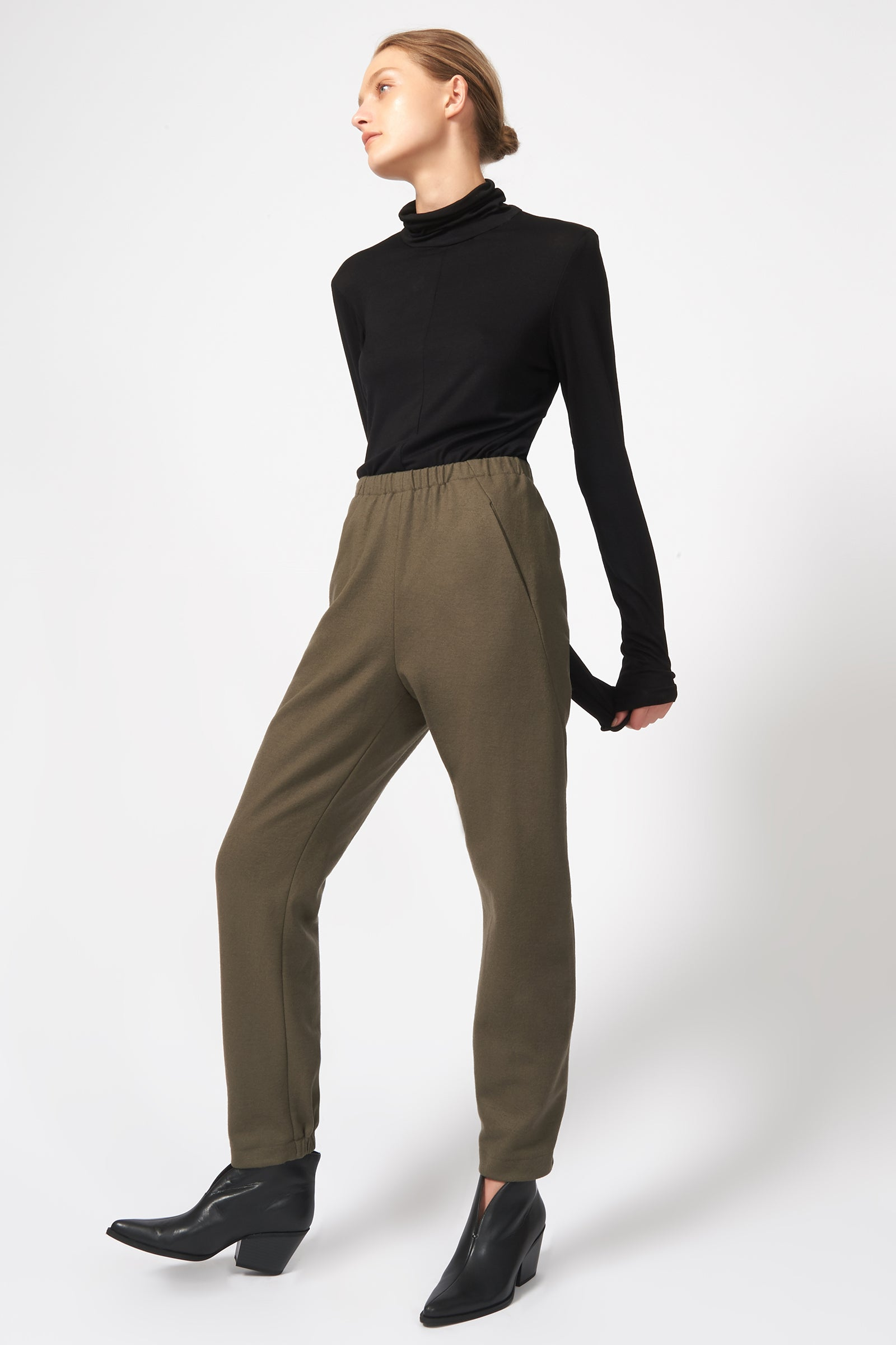 Kal Rieman Felted Jersey Angle Seam Jogger in Moss on Model Full Front Side View