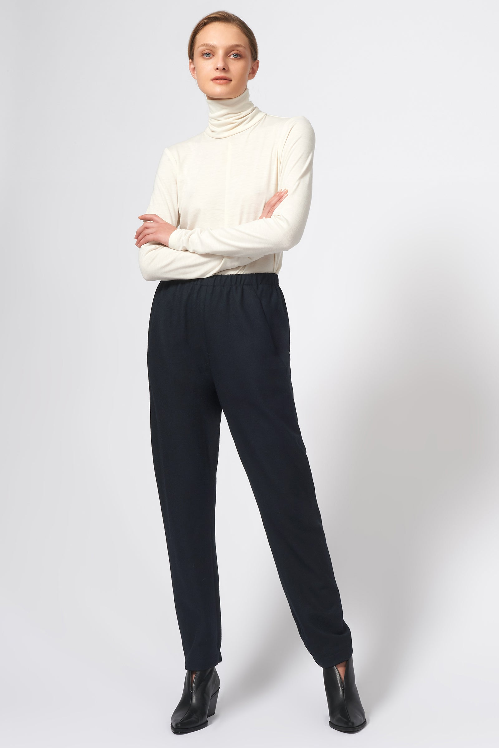Kal Rieman Felted Jersey Angle Seam Jogger in Midnight on Model Full Front View
