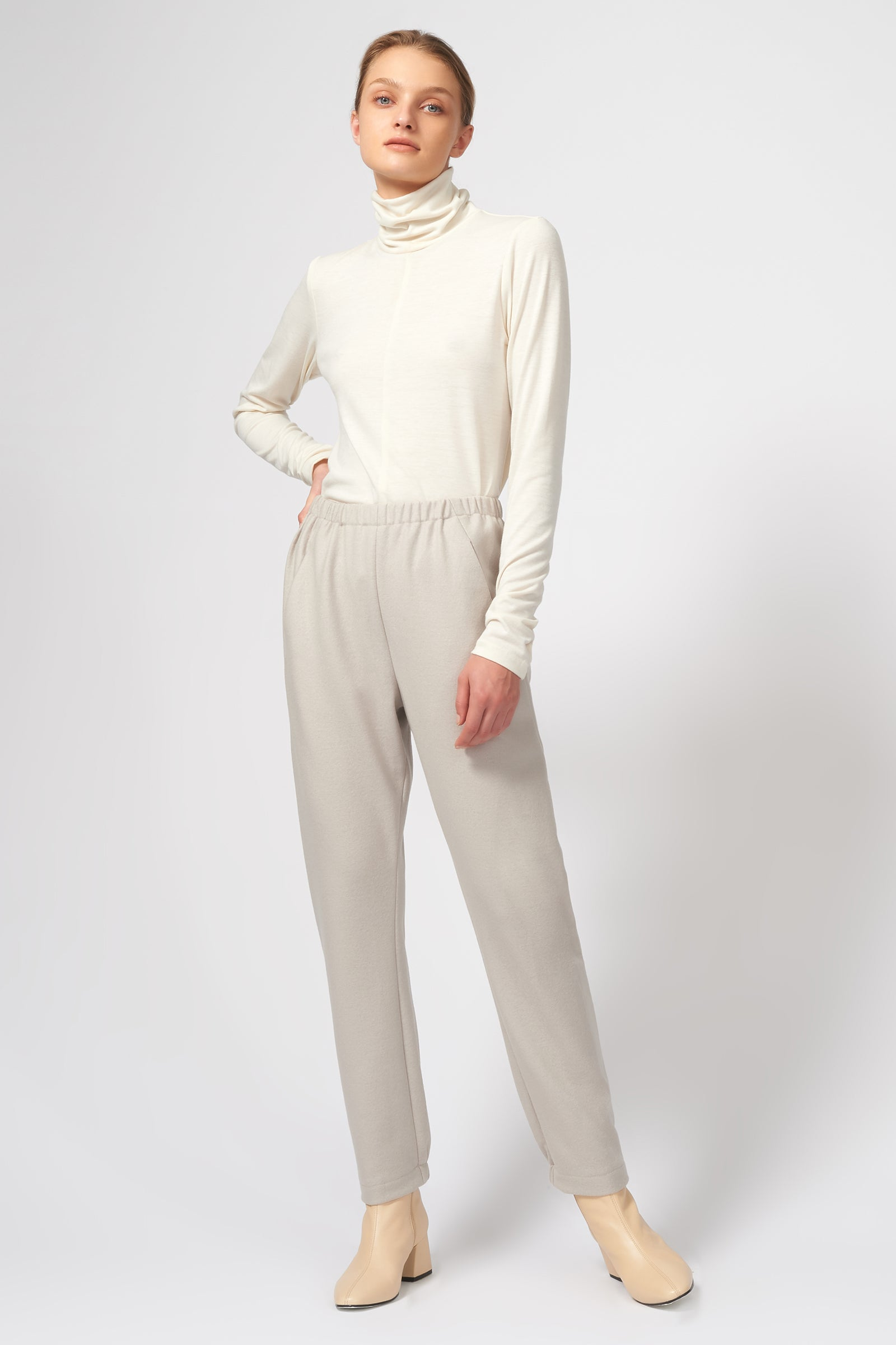 Kal Rieman Felted Jersey Angle Seam Jogger in Mink on Model Full Front View