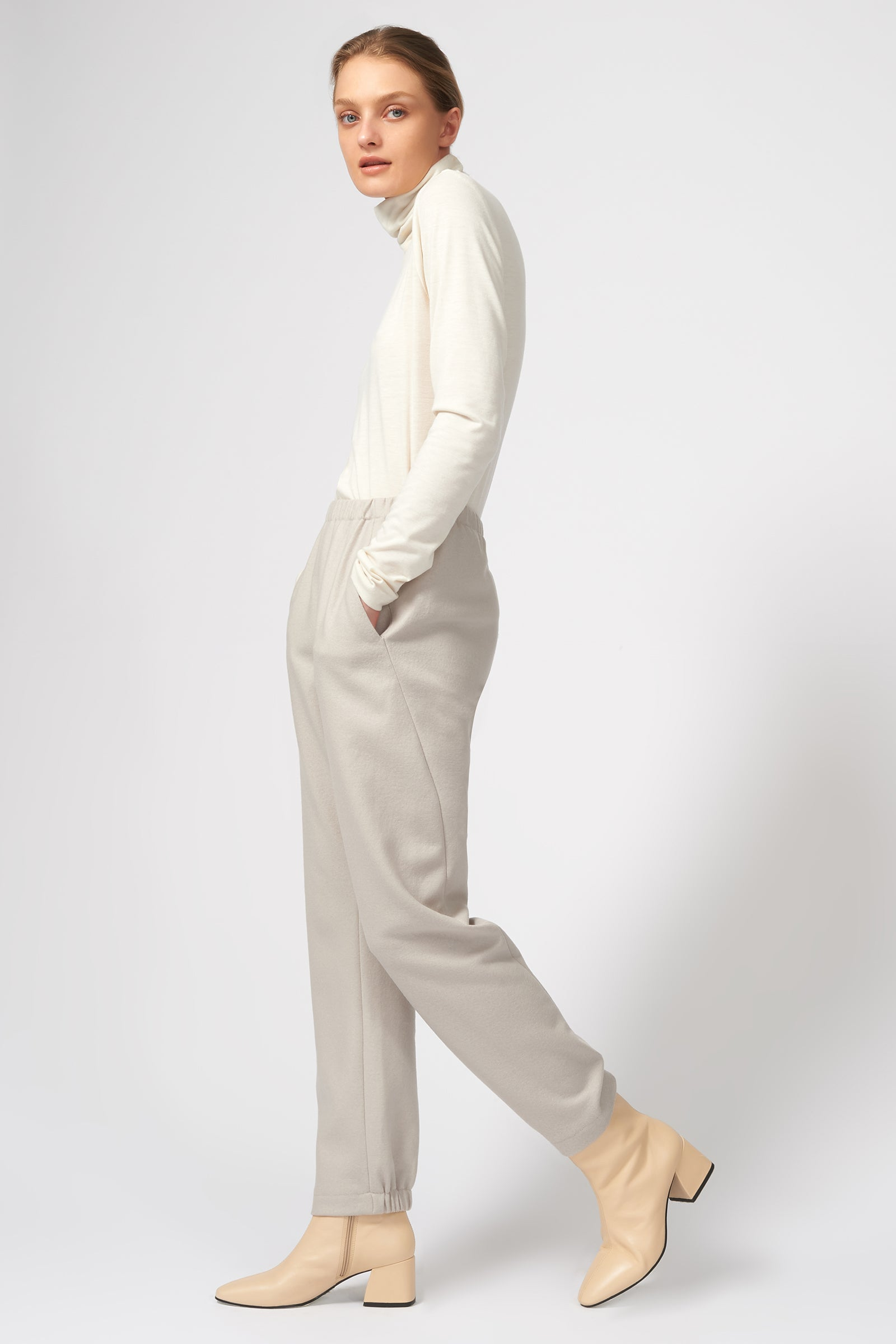 Kal Rieman Felted Jersey Angle Seam Jogger in Mink on Model Full Side View