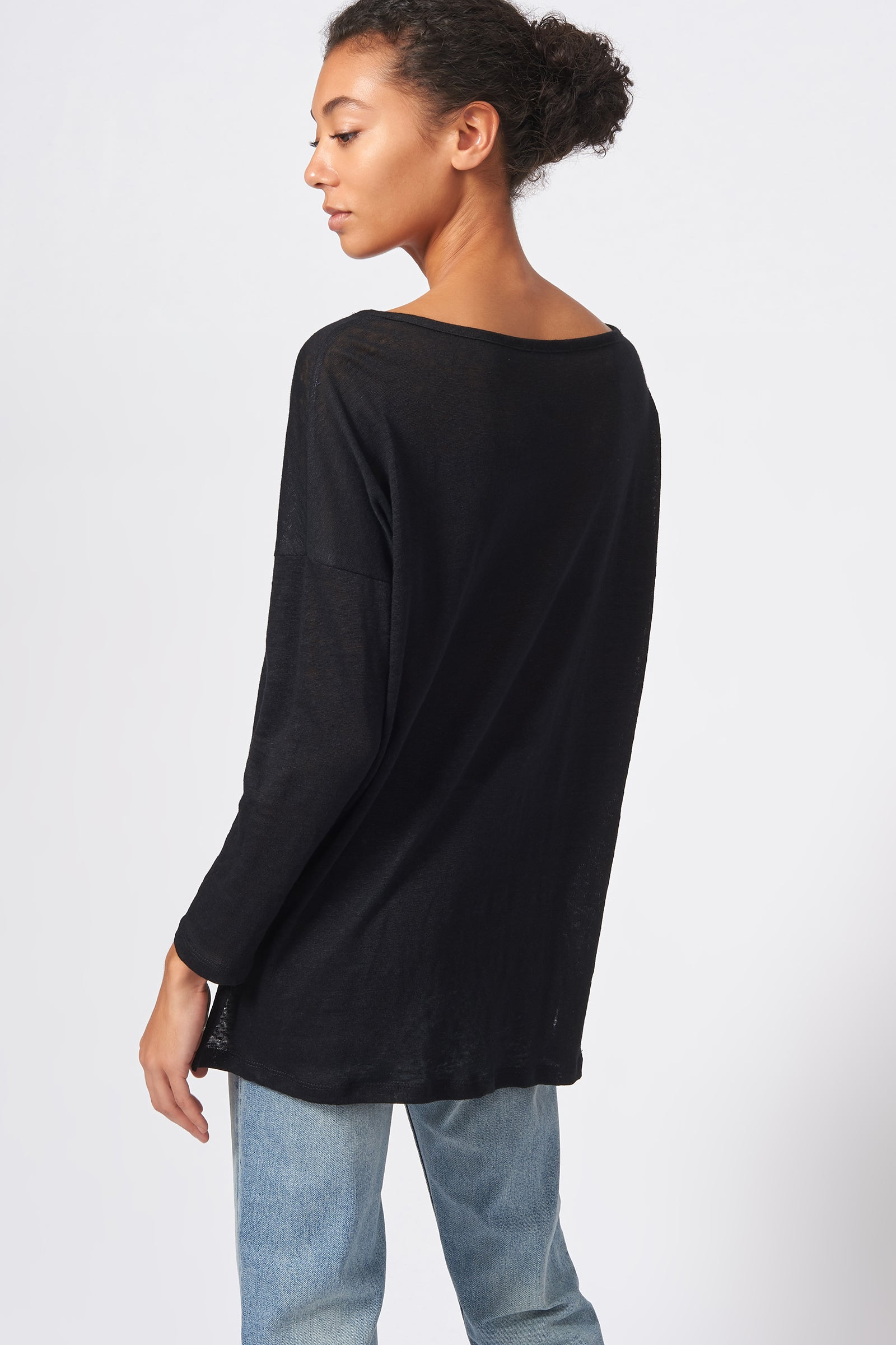 Kal Rieman Boat Neck Box Tee in Black on Model Front Side View