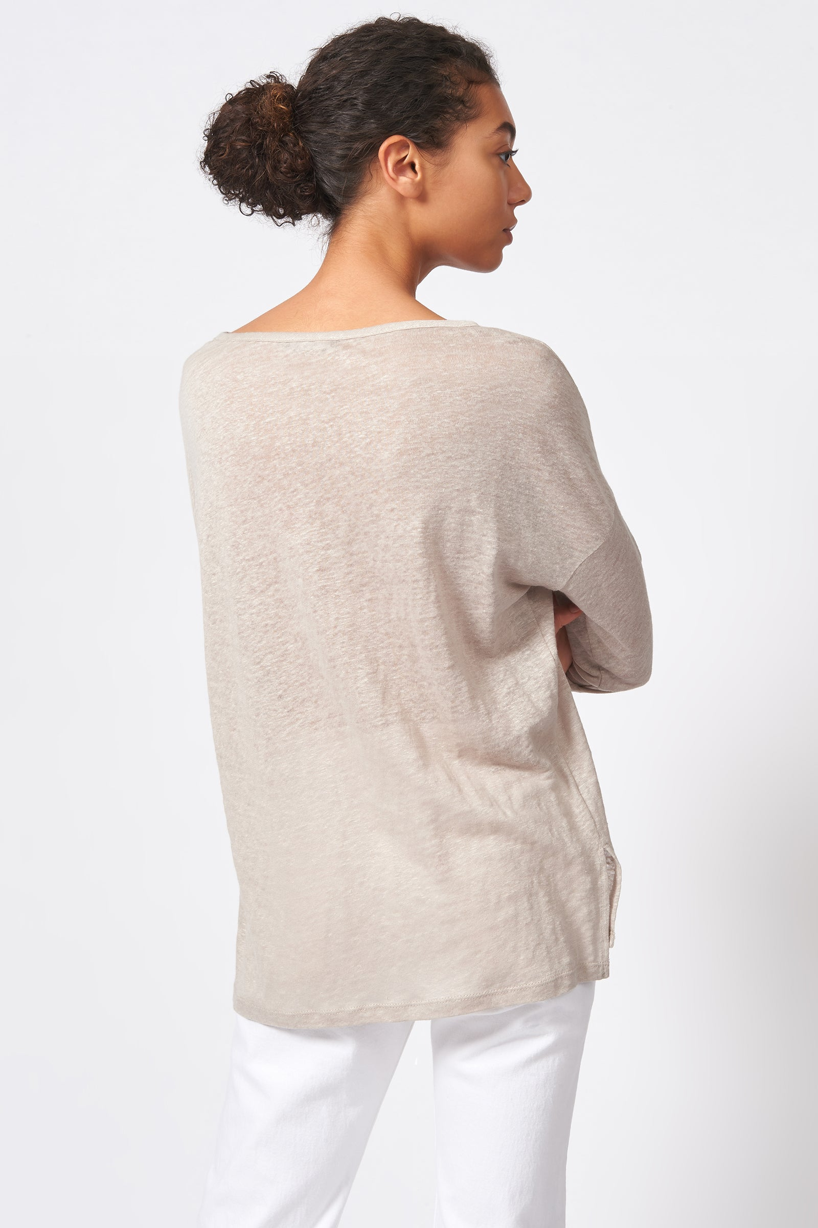 Kal Rieman Boat Neck Box Tee in Khaki on Model Front Side View
