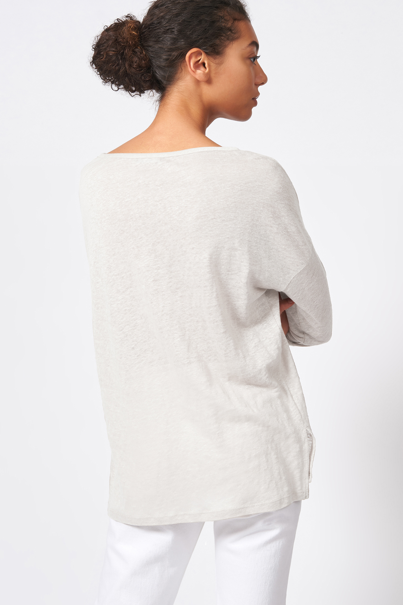 Kal Rieman Boat Neck Box Tee in Natural on Model Front View