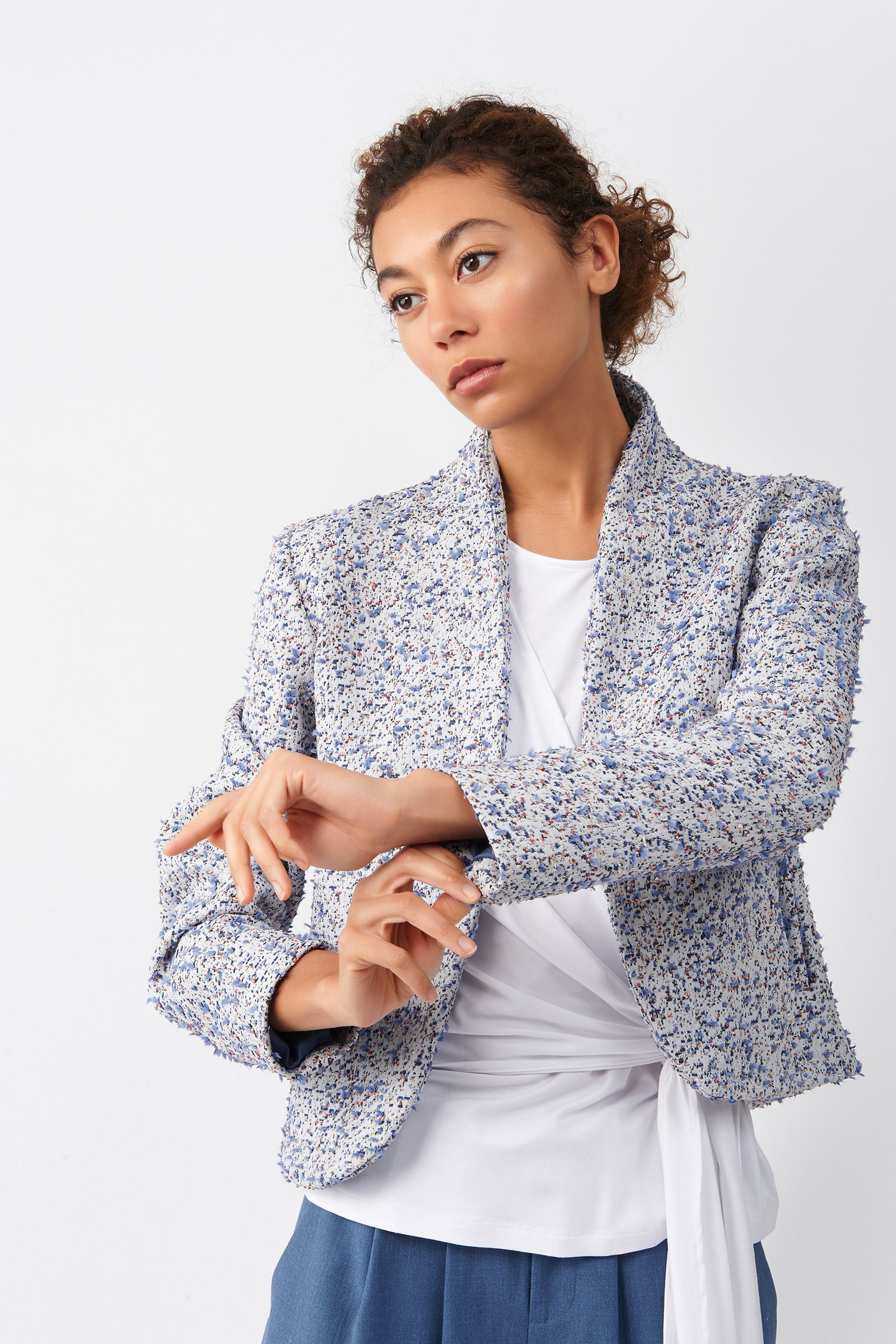 Kal Rieman Boucle Bolero in Multi on Model Front Detail View