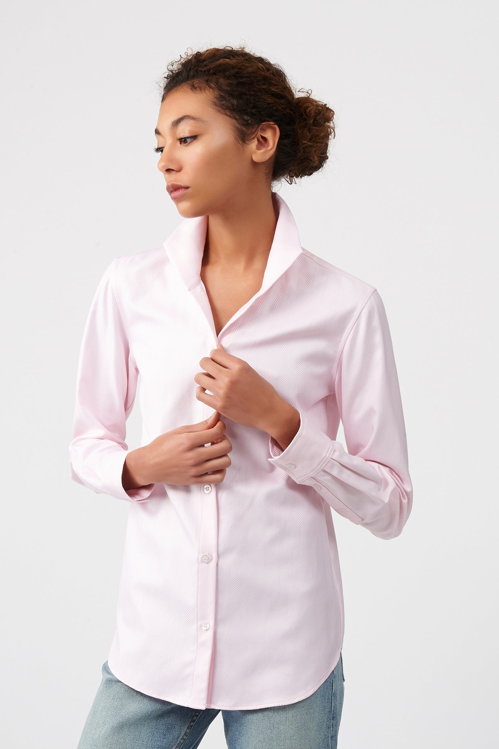 Kal Rieman Ginna Box Pleat Shirt in Pink Herringbone on Model Front View