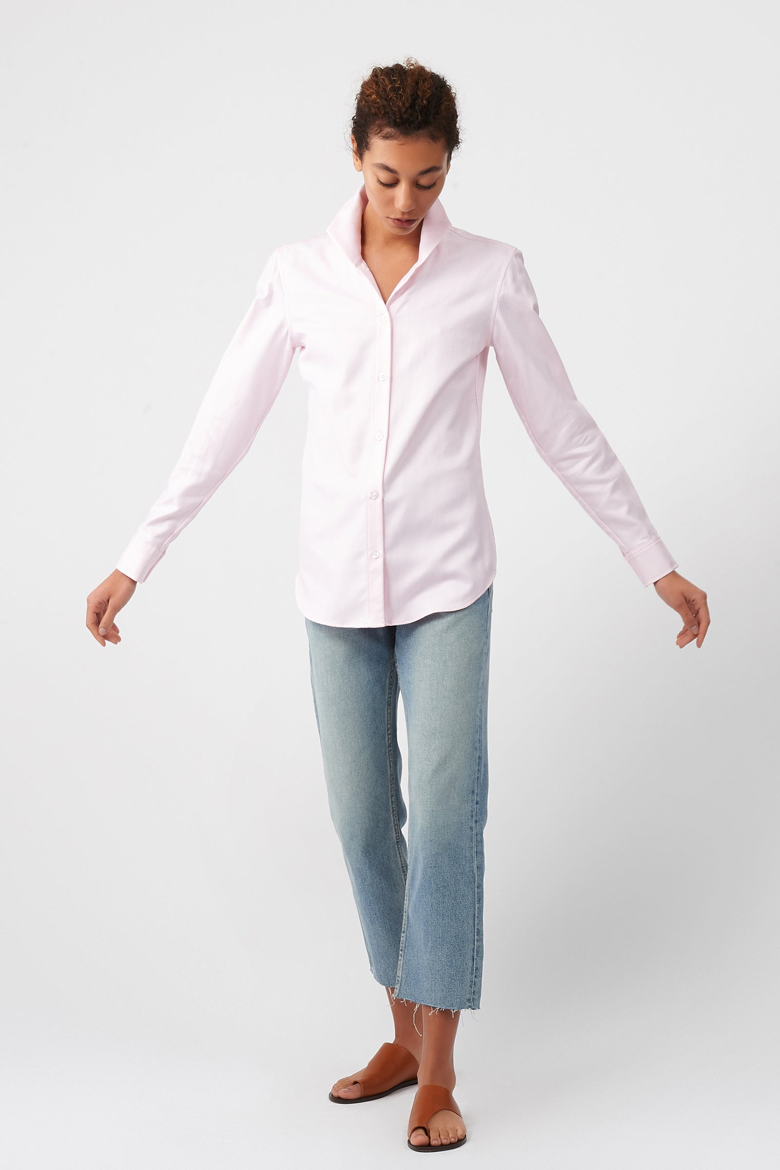 Kal Rieman Ginna Box Pleat Shirt in Pink Herringbone on Model Full Front View