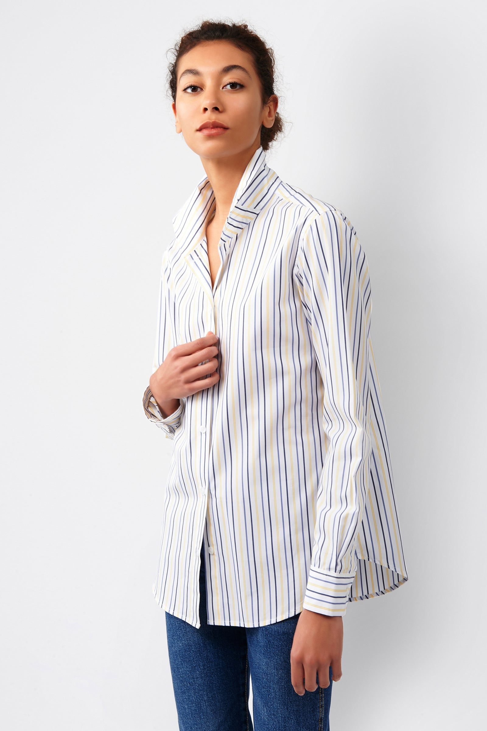 Kal Rieman Ginna Box Pleat Shirt in Yellow Multi Stripe on Model Front Side View