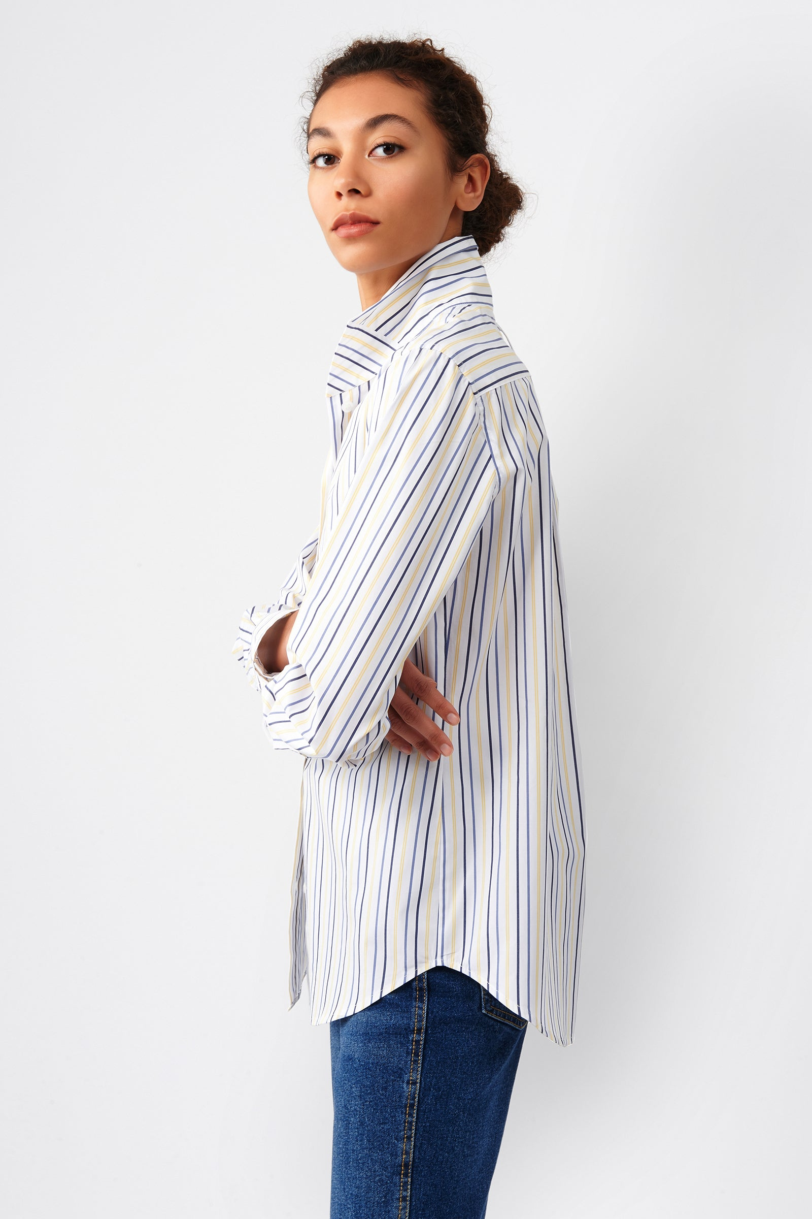 Kal Rieman Ginna Box Pleat Shirt in Yellow Multi Stripe on Model Side View