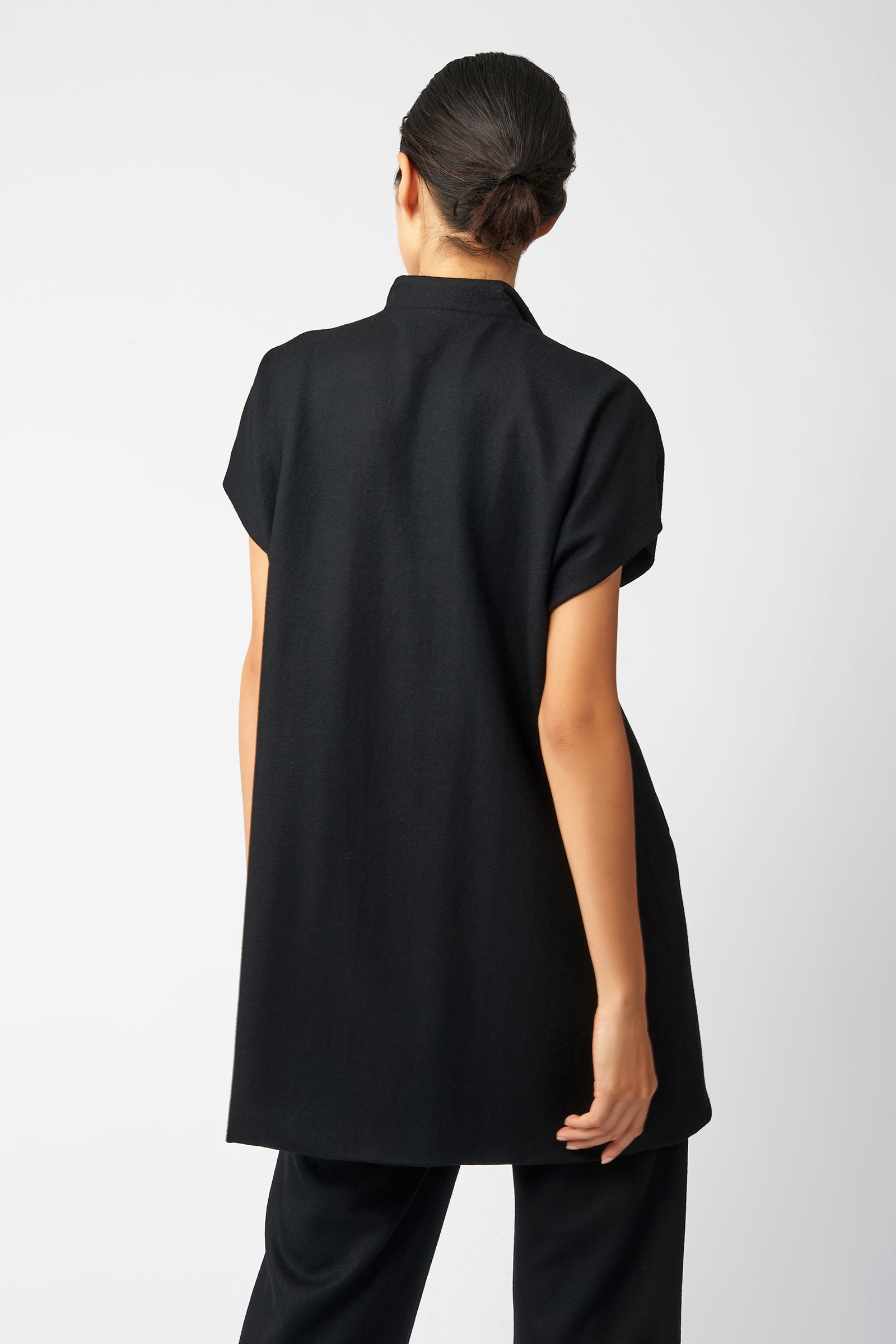 Kal Rieman Cap Sleeve Zip Jacket in Black on Model Back View