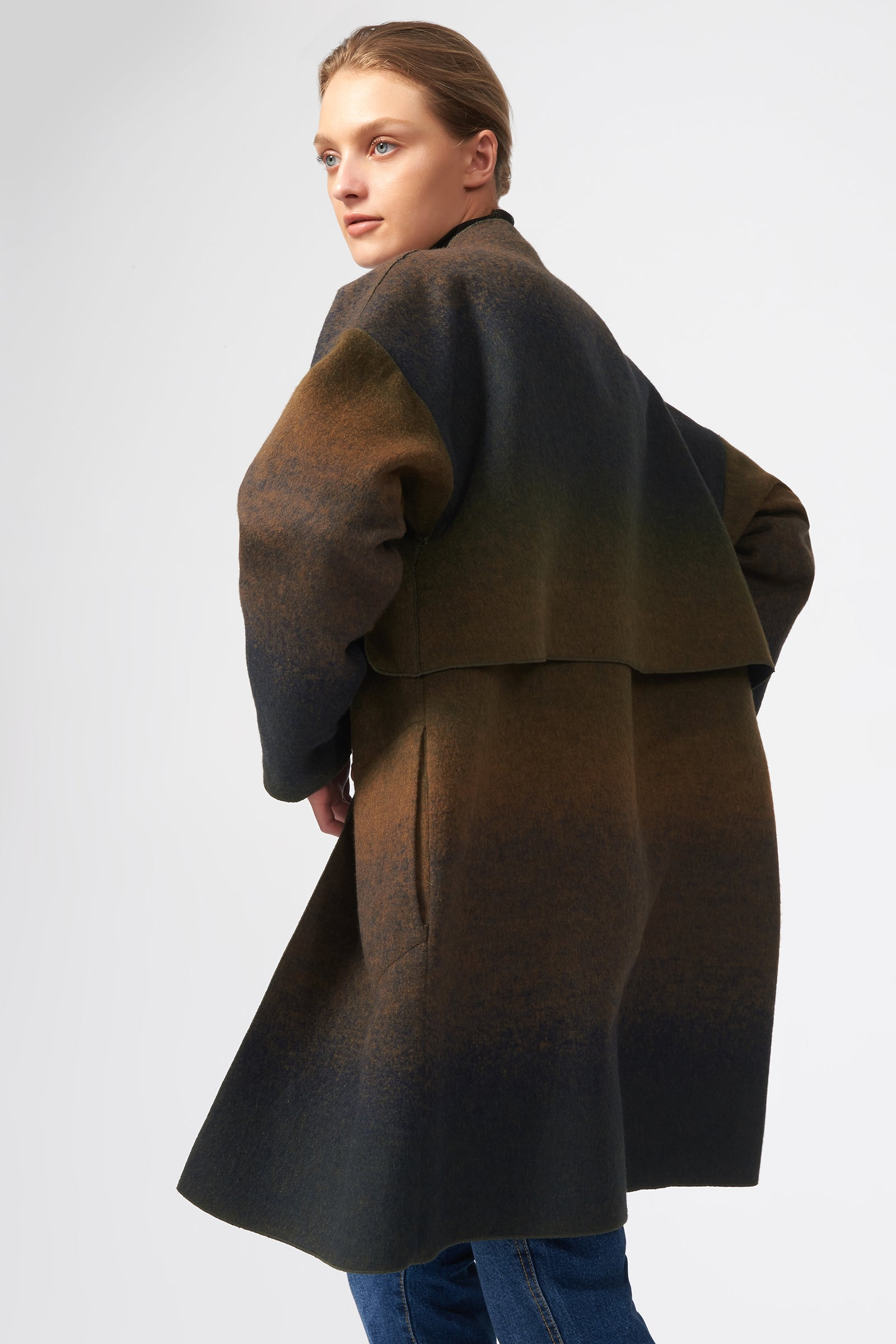 Kal Rieman Cape Kimono Coat in Italian Ombre on Model Back View