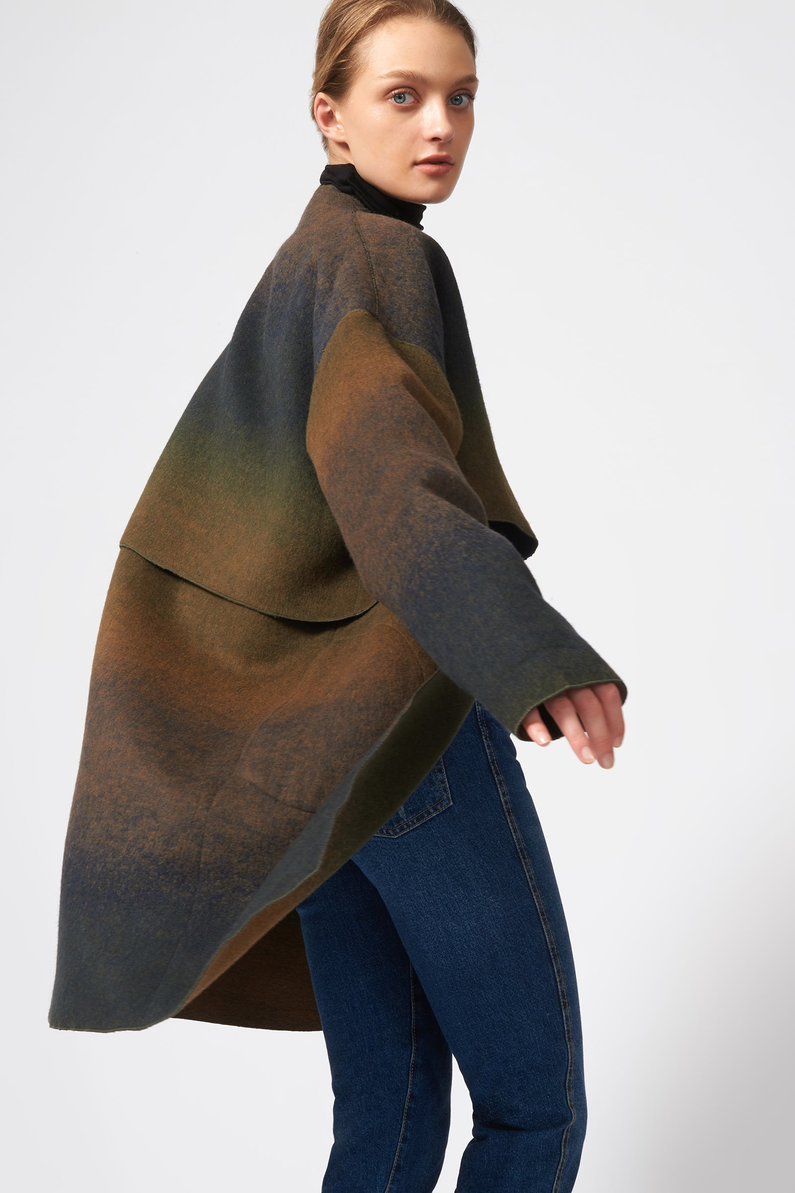 Kal Rieman Cape Kimono Coat in Italian Ombre on Model Side View