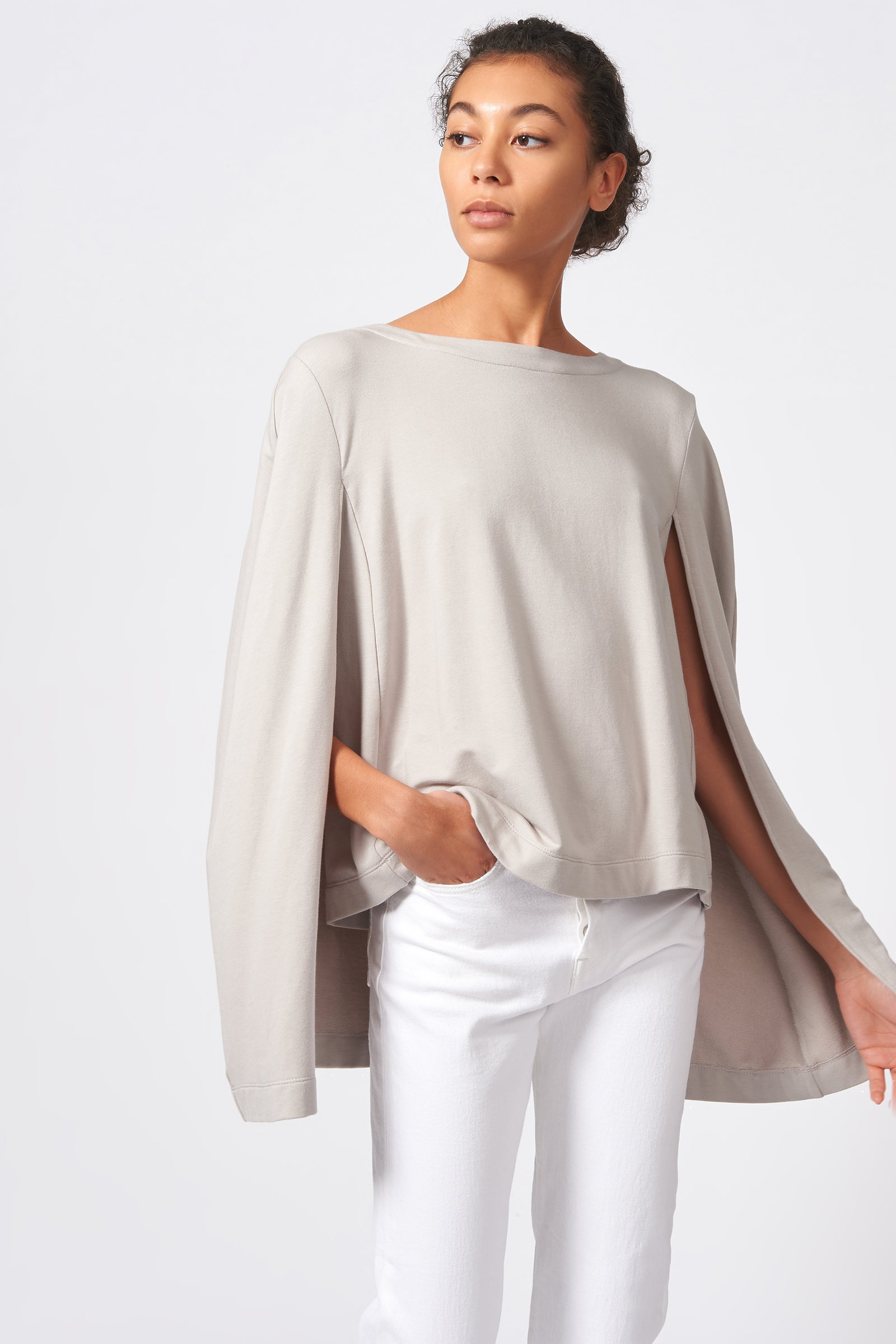 Kal Rieman Cape Sweatshirt in Khaki on Model Front View