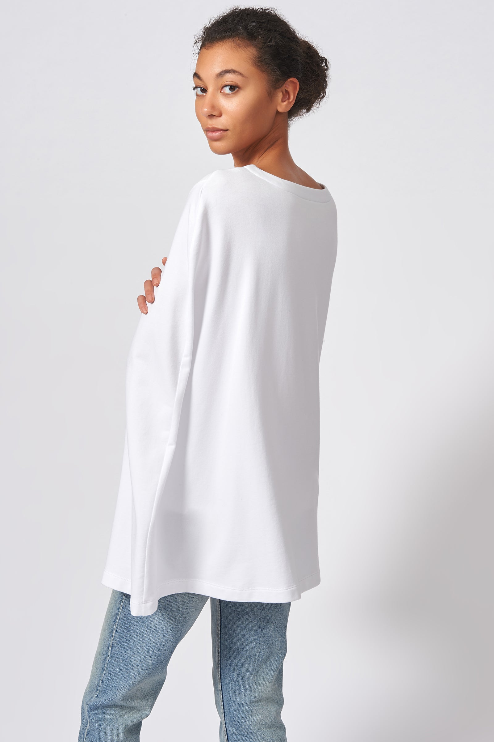 Kal Rieman Cape Sweatshirt in White on Model Front View