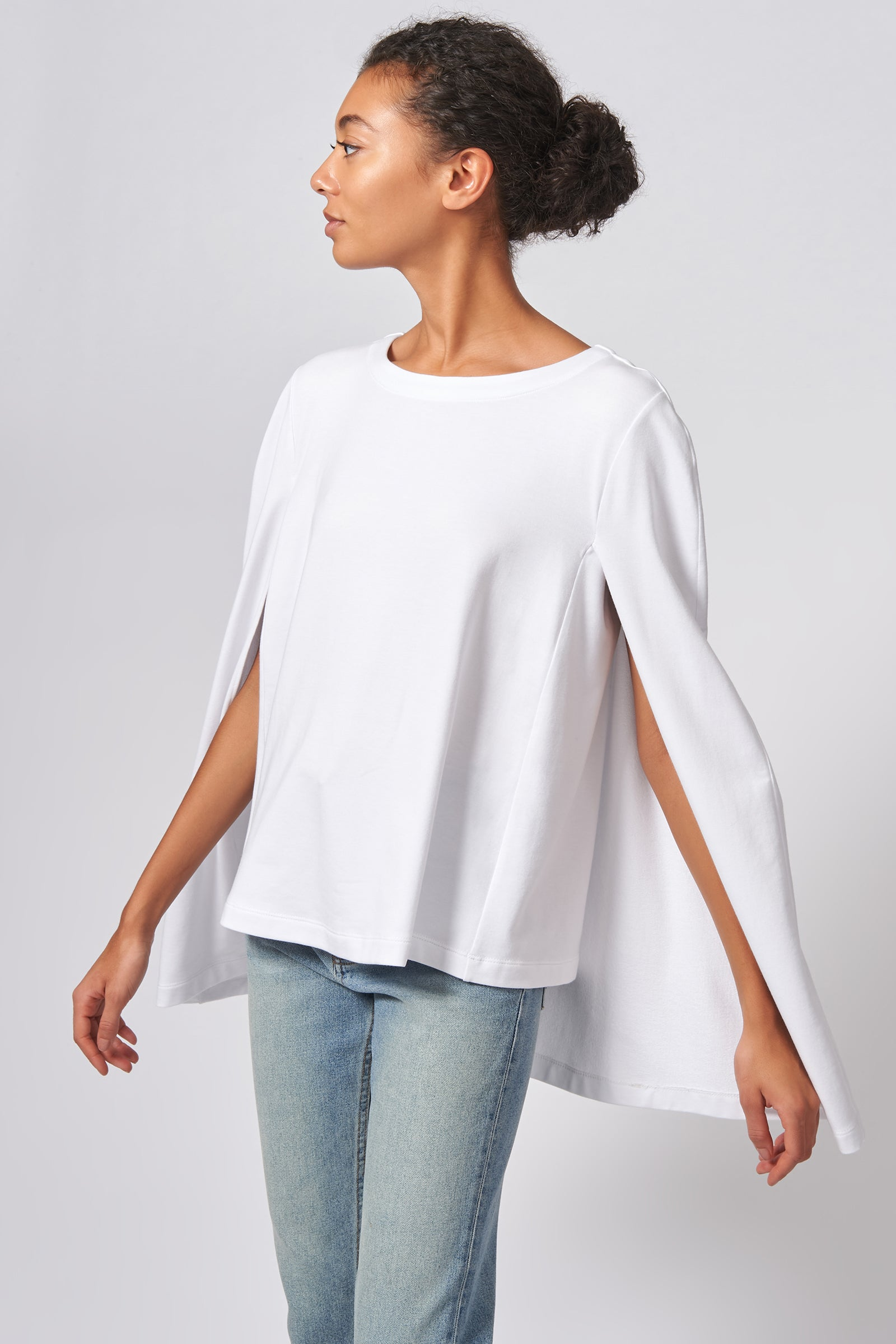 Kal Rieman Cape Sweatshirt in White on Model Front Side View