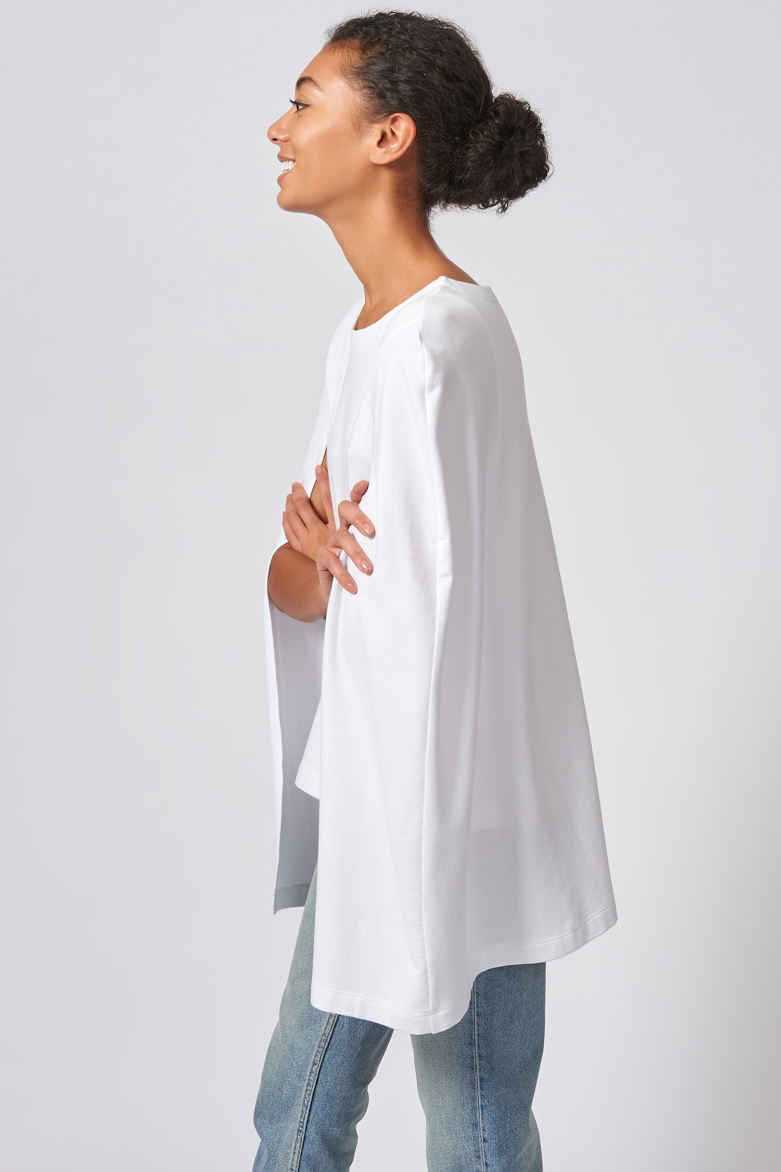 Kal Rieman Cape Sweatshirt in White on Model Side View