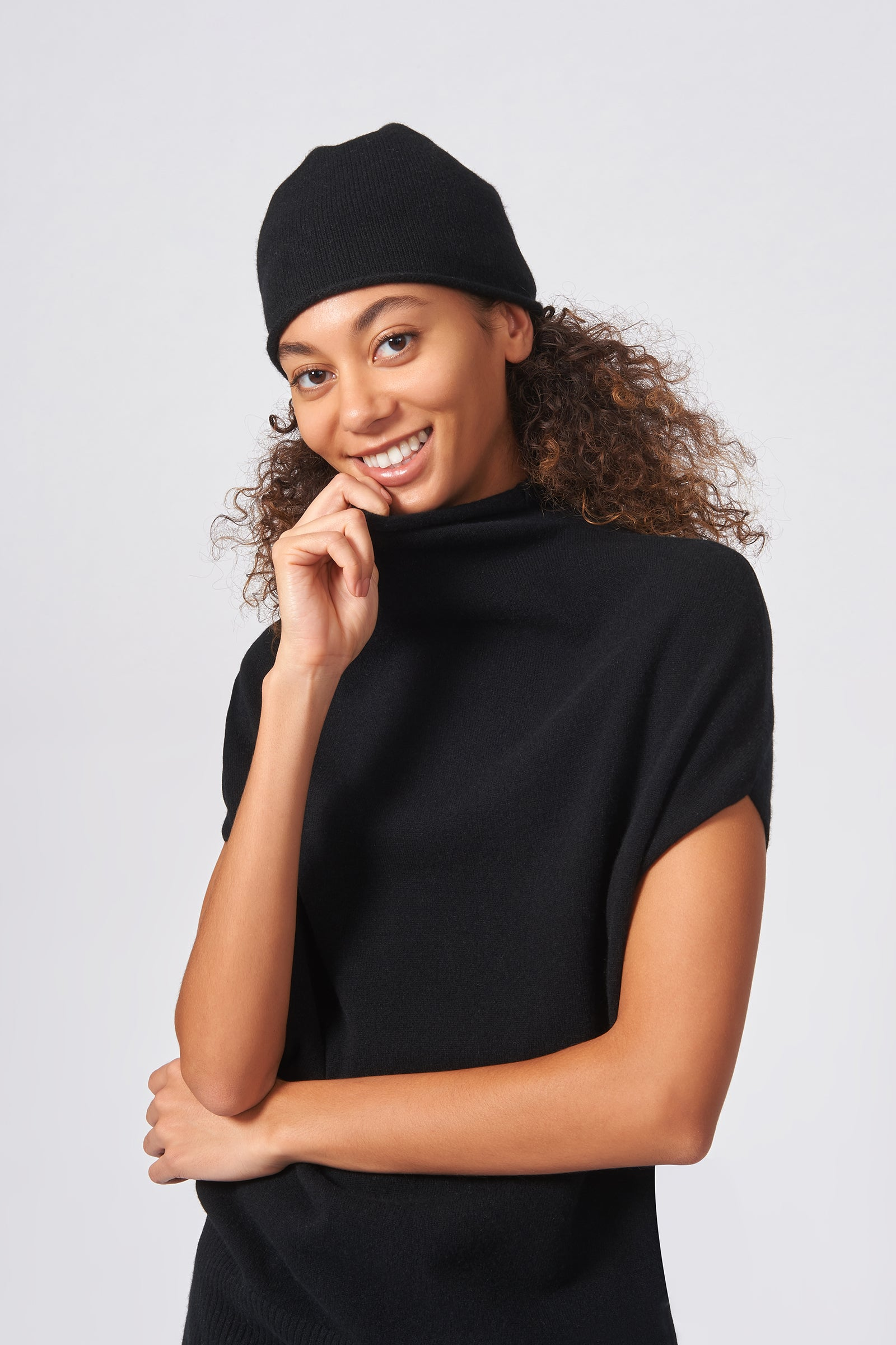 Kal Rieman Cashmere Cap in Black on Model Front View