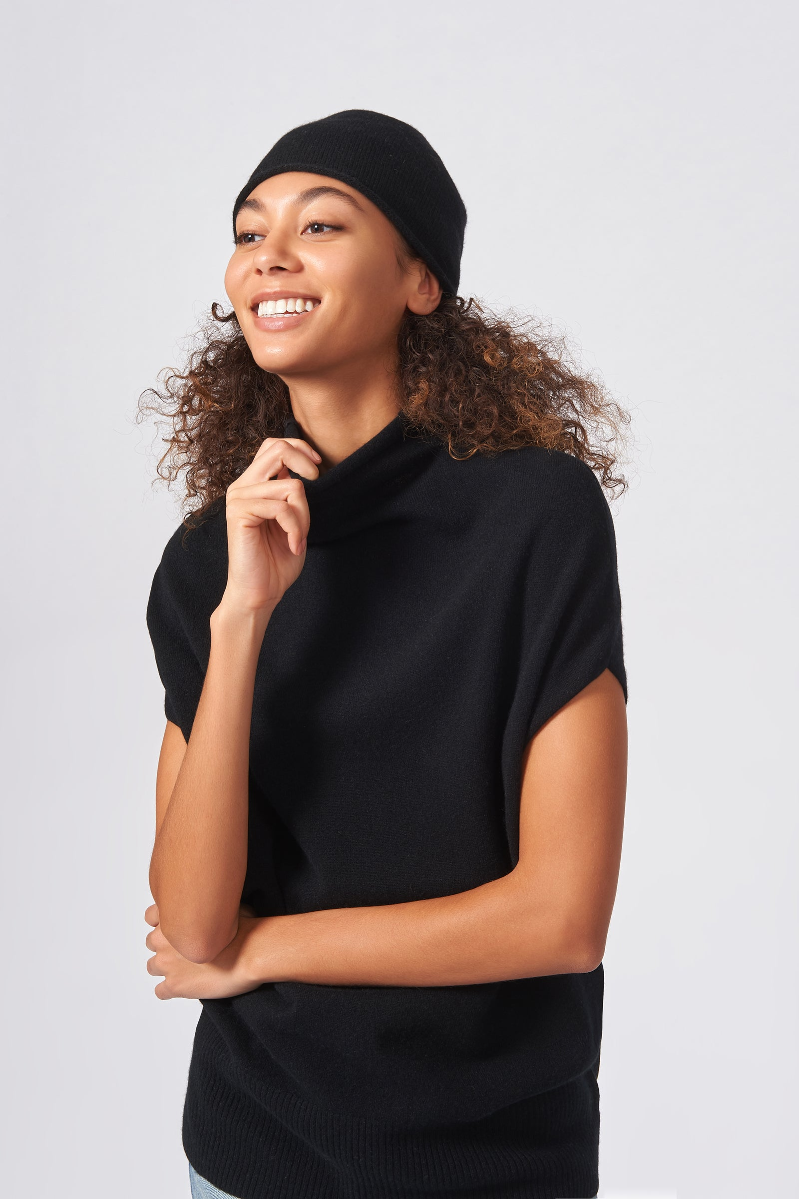 Kal Rieman Cashmere Cap in Black on Model Front Side View