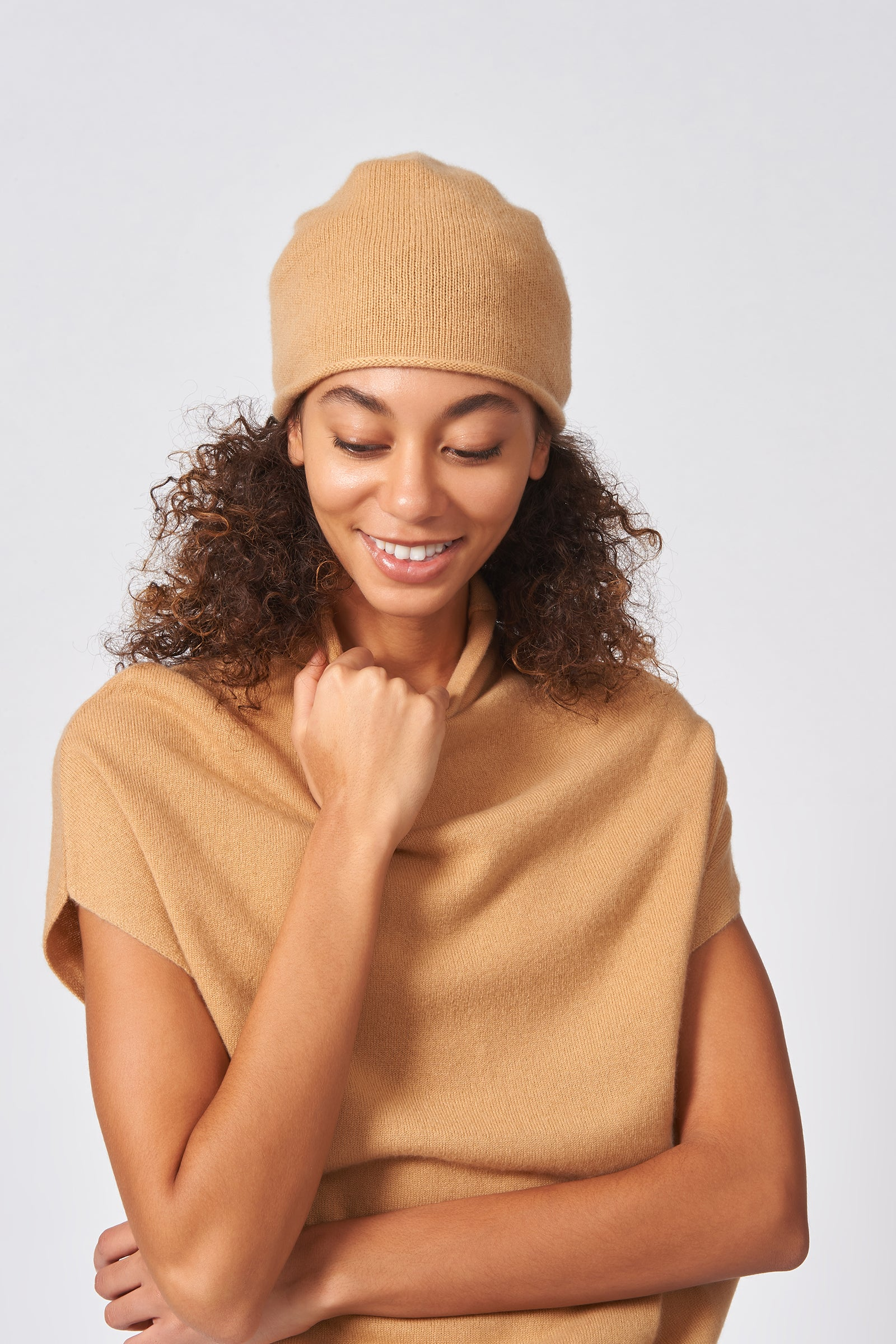 Kal Rieman Cashmere Cap in Camel on Model Front Close-up View