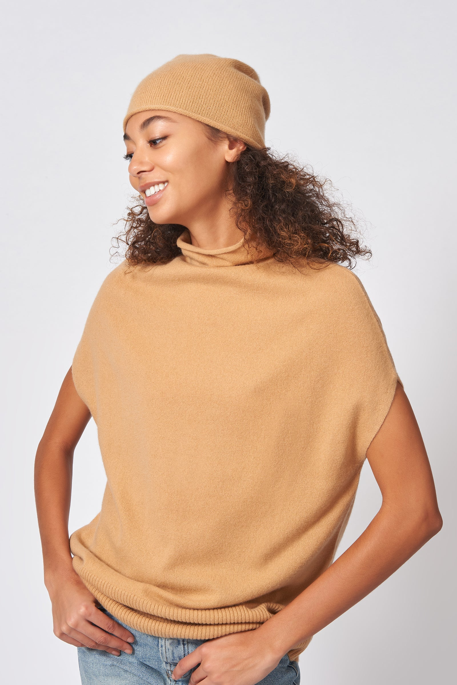 Kal Rieman Cashmere Cap in Camel on Model Front Side View