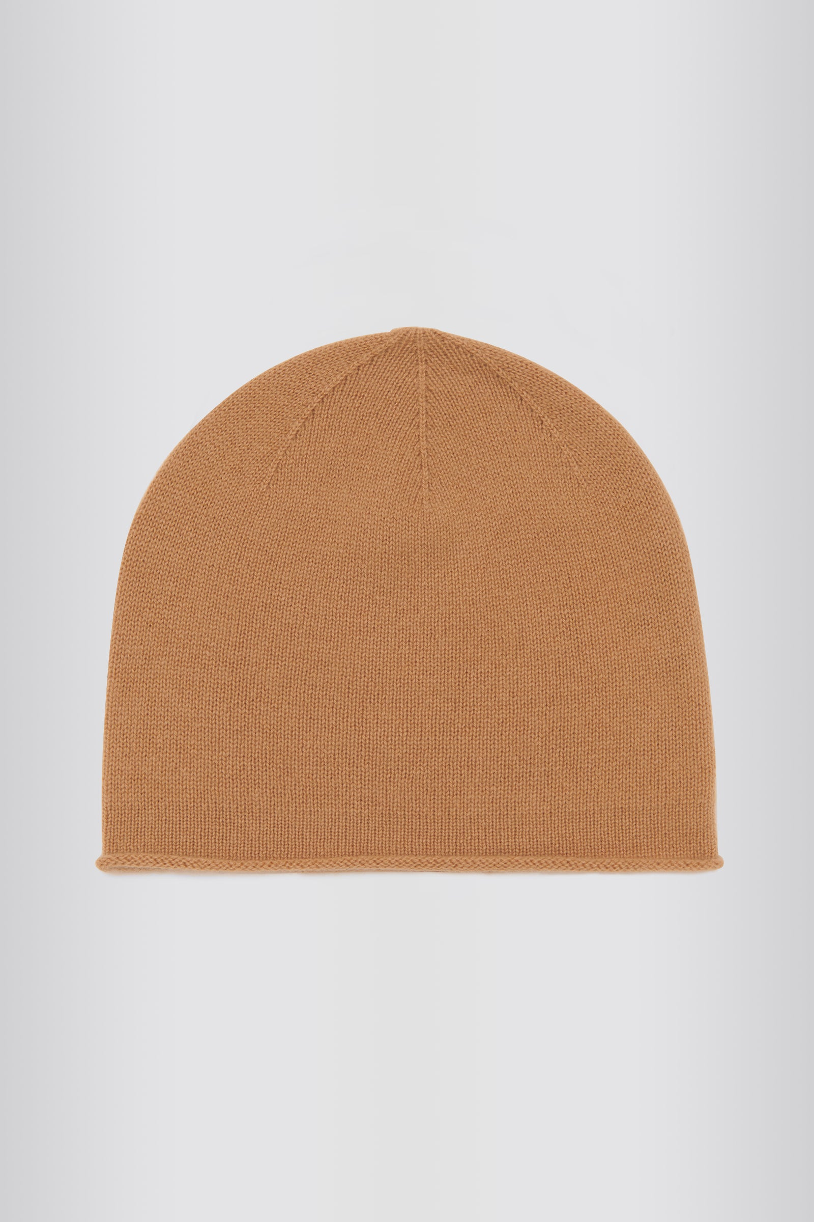 Kal Rieman Cashmere Cap in Camel on Model Front View