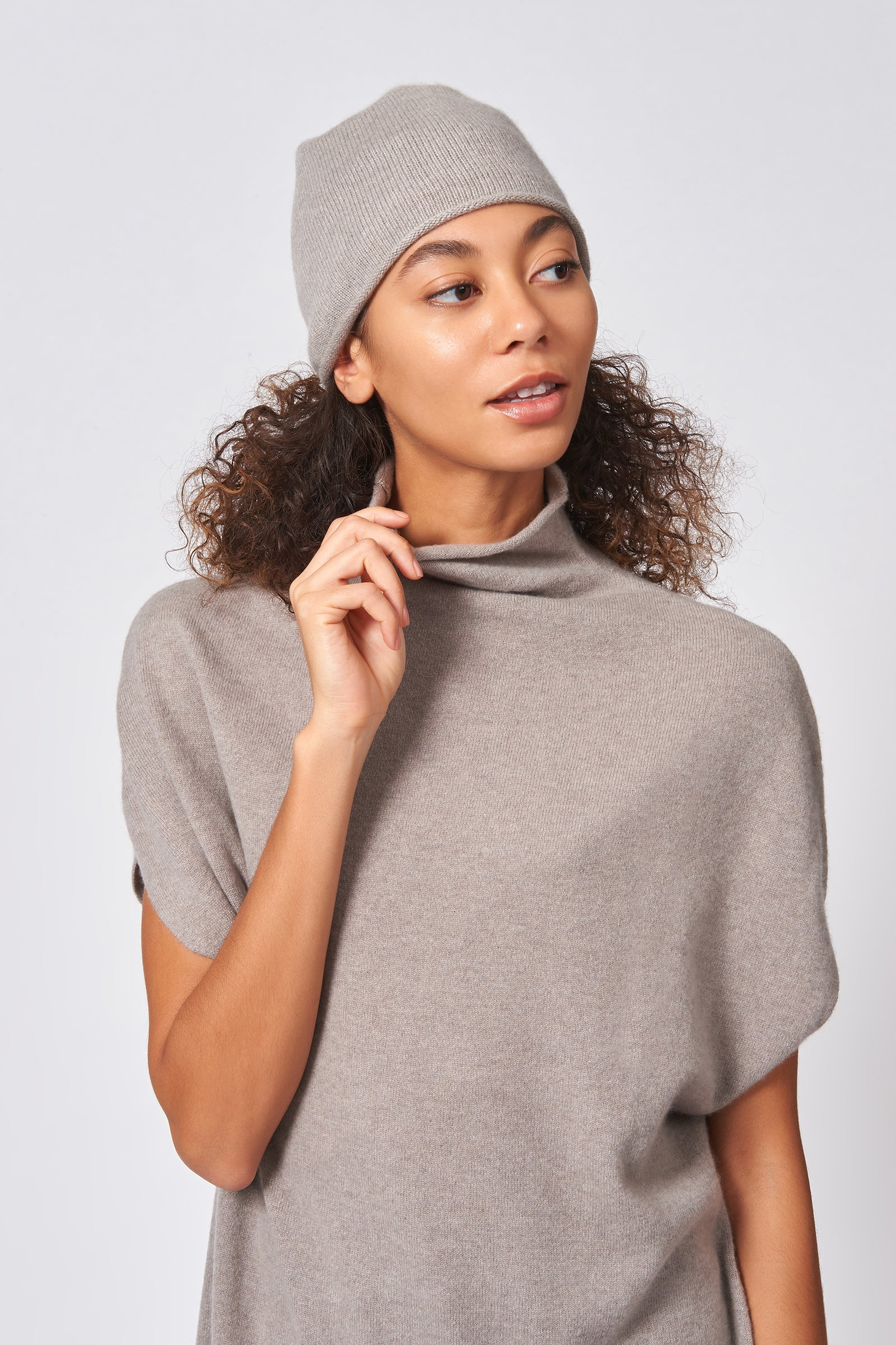 Kal Rieman Cashmere Cap in Drift on Model Front  View